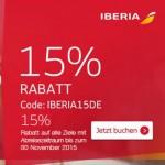 15% nuolaidos kodas visiems Iberia skrydžiams iš Vokietijos!