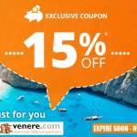 Net 15% nuolaidos kodas viešbučių rezervacijoms per Venere svetainę!