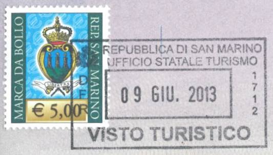 Tik San Marino turistų informacijos centre už 5 EUR mokestį galite gauti įokią unikalią vizą, kaip įrodymą, kad Jūs tikrai buvote apsilankę San Marine