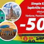 50% nuolaida tarptautiniams autobusų bilietams su Simple Express!
