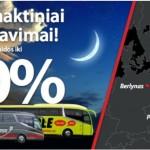 Lux Express ir Simple Express autobusų bilietų naktiniai išpardavimai! Nuolaidos iki -60%!!!
