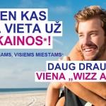 """""""Wizz Air"""" vienos dienos akcija, suteikianti 50% nuolaidą antram bilietui! Dėmesio – gaunate unikalią galimybę NEMOKAMAI įsigyti WDC narystę!"""