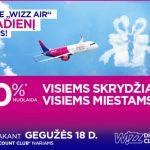 """Tik šiandien visiems WDC nariams: net -30% visiems """"Wizz Air"""" skrydžiams!"""