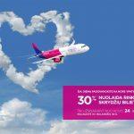 """Savaitgalio proga visiems """"Wizz Air"""" bilietams taikoma net -30% nuolaida skrydžiams iki balandžio 30 d.!"""